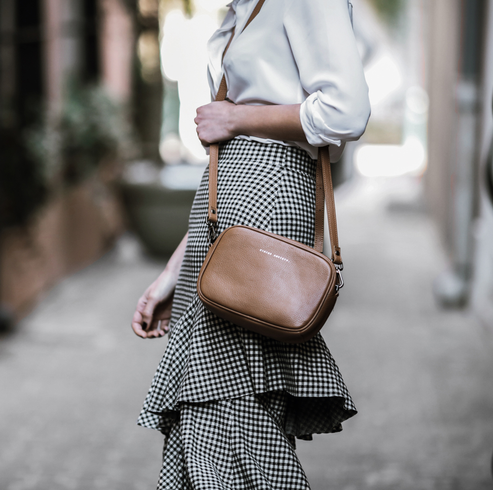 A gingham ruffle skirt