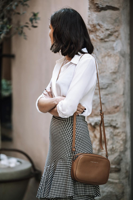A gingham ruffle skirt