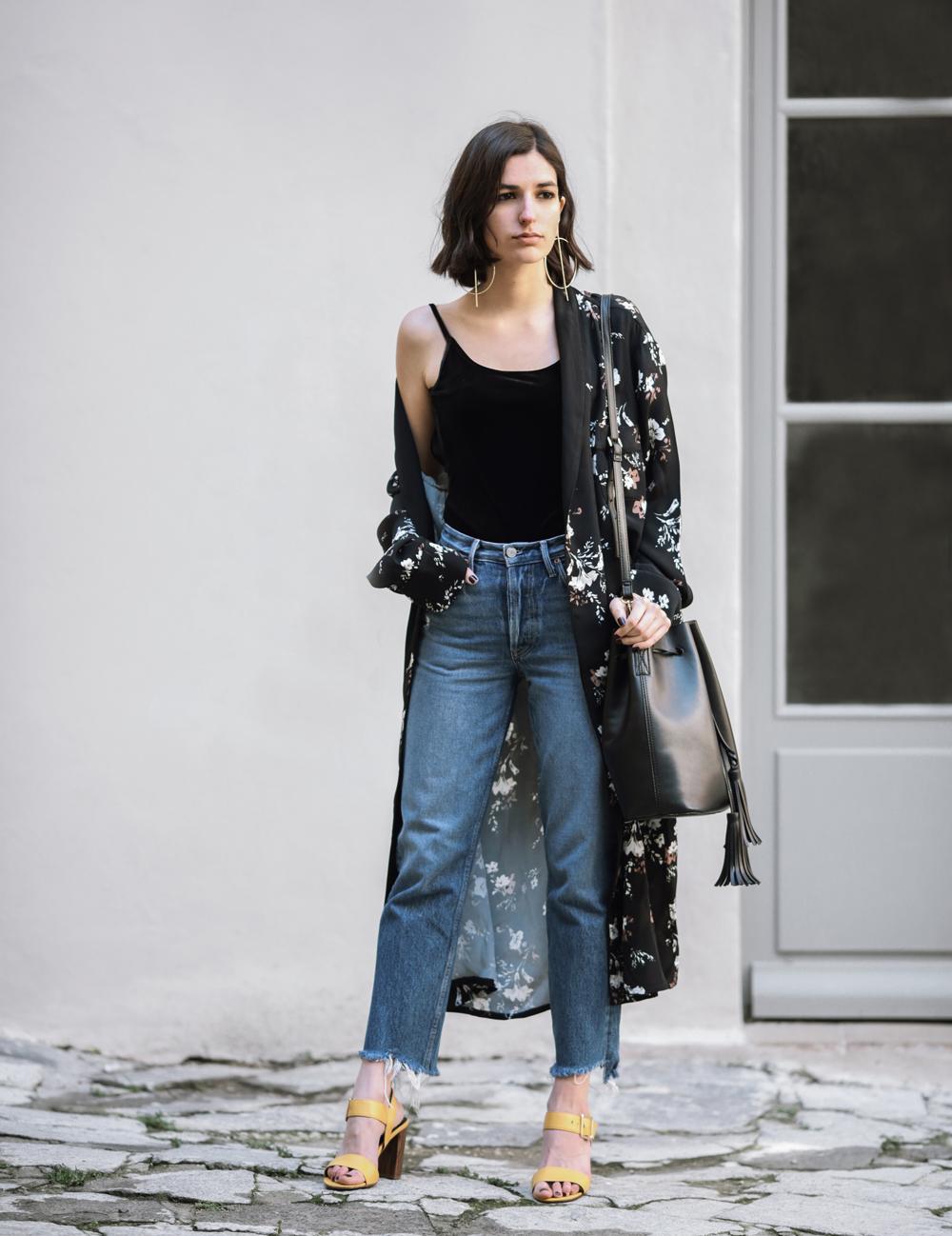 The Kimono Robe Street Style French Fashion Blogger Spring Outfit Mom Jeans Revolve Zara Velvet Top