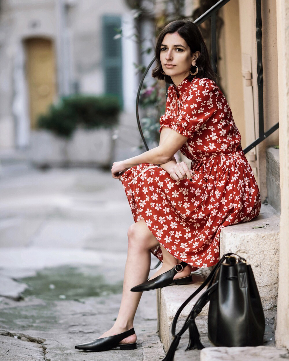 The Red Floral Dress Fashion Blogger Street Style French Kooples Marks And Spencer Sling Back Shoes Black Mango Bucket Bag Summer Outfit