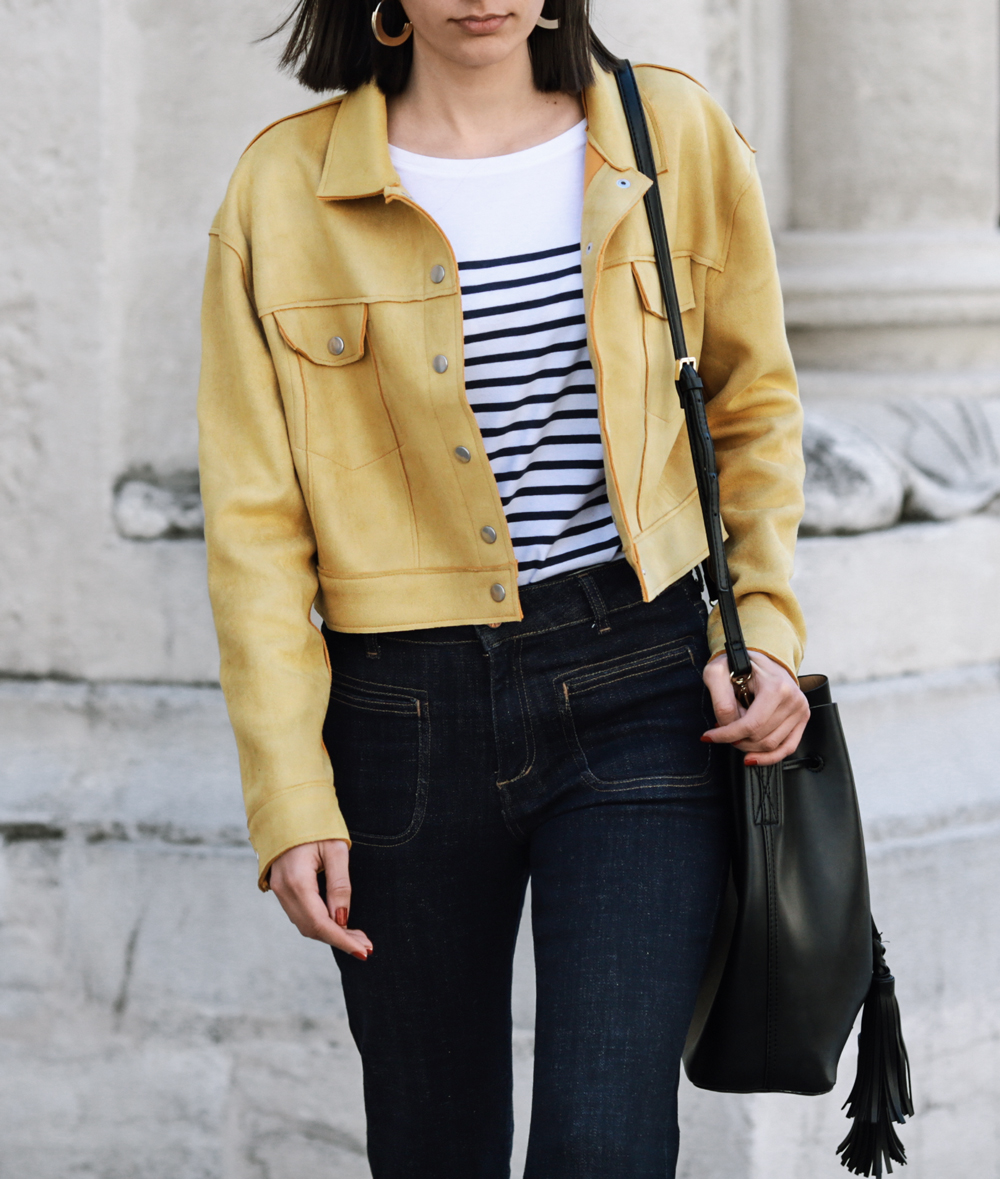 the yellow biker jacket
