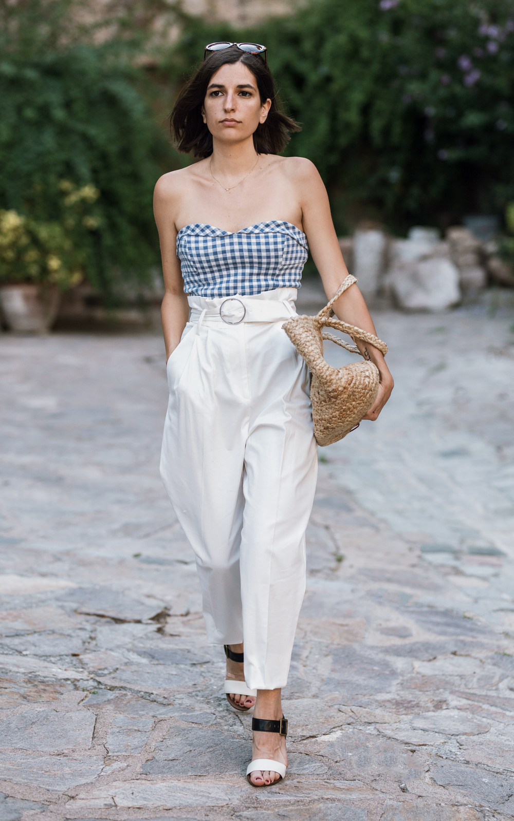 How to wear a gingham bustier this summer