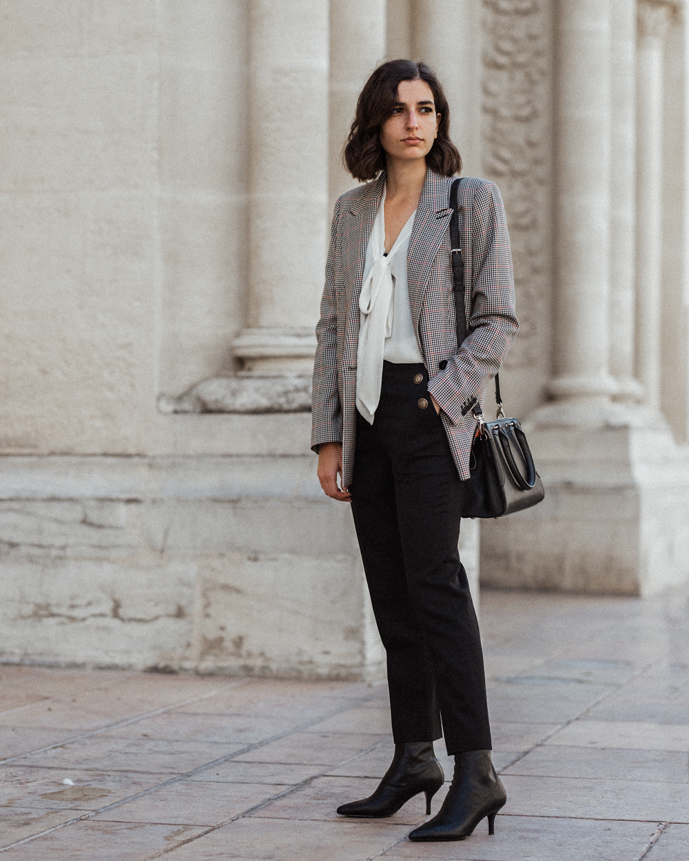 Checked blazer and sailor trousers