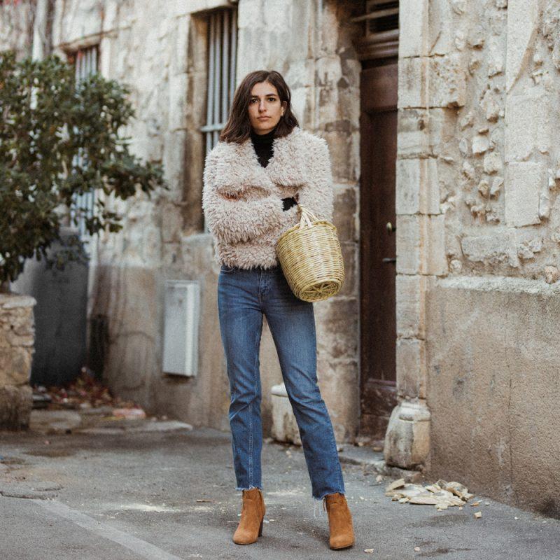 A Fluffy Coat And A Basket Bag Aria Di Bari