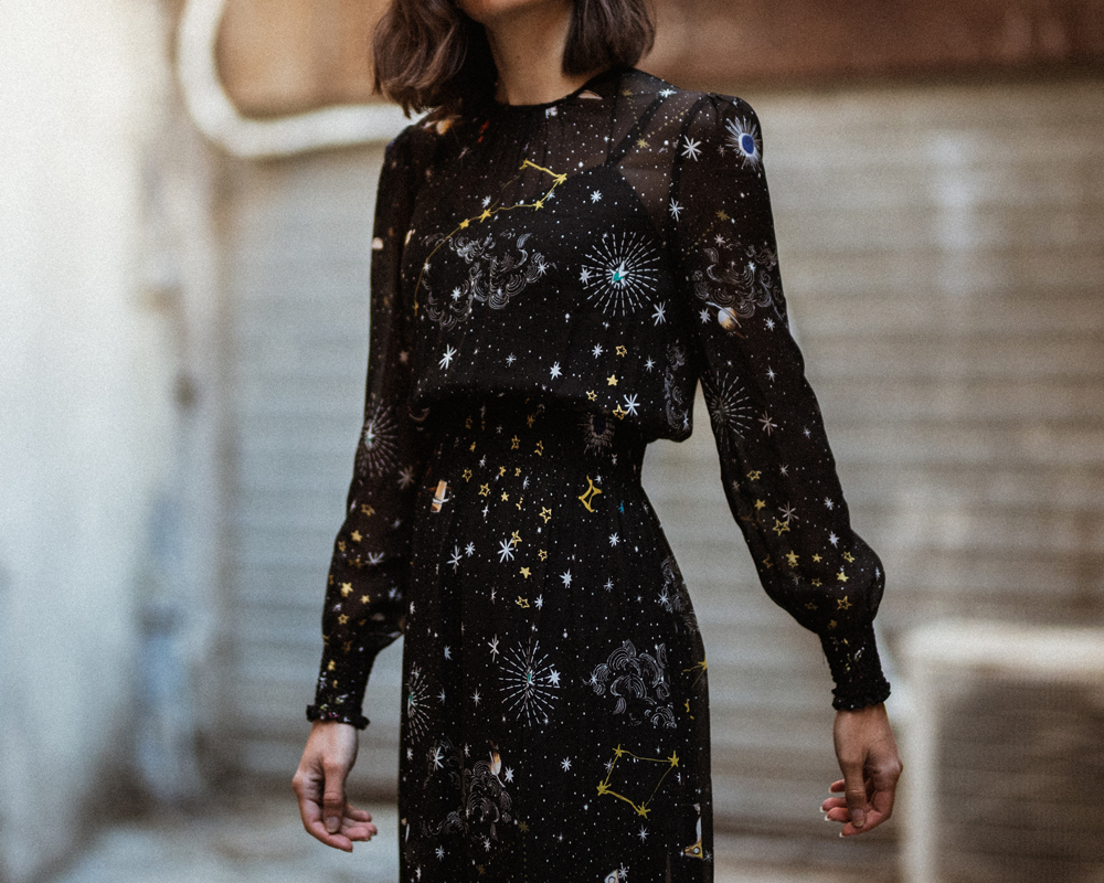 A leather jacket and a star printed dress