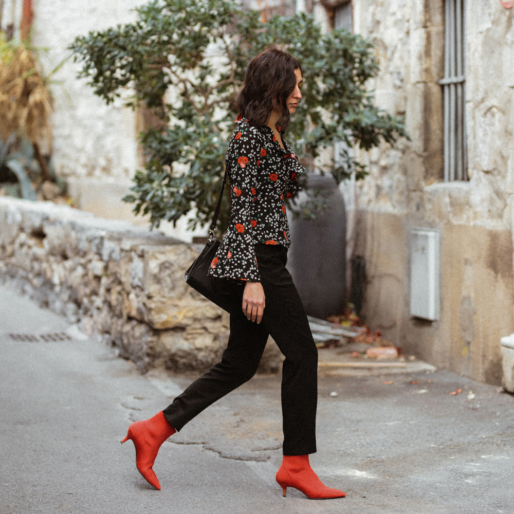 A floral wrap blouse for winter