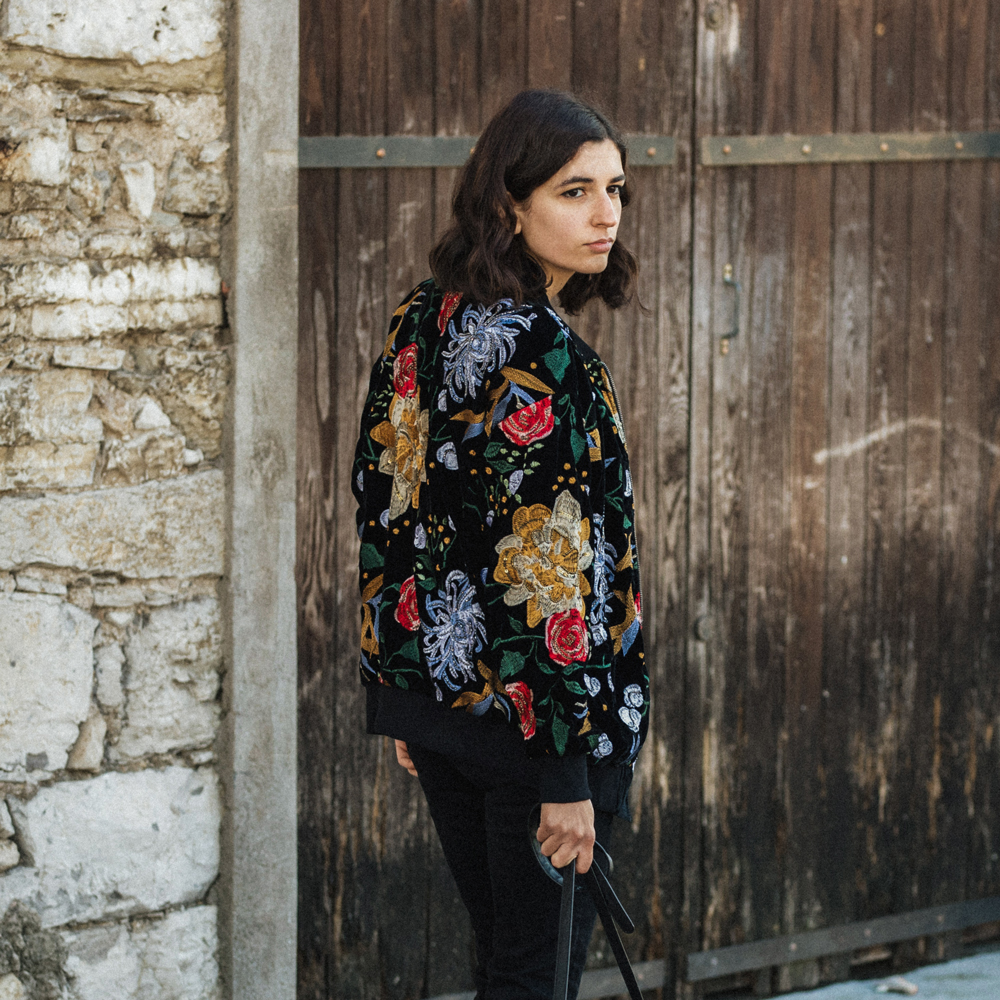 A velvet embroidered bomber jacket