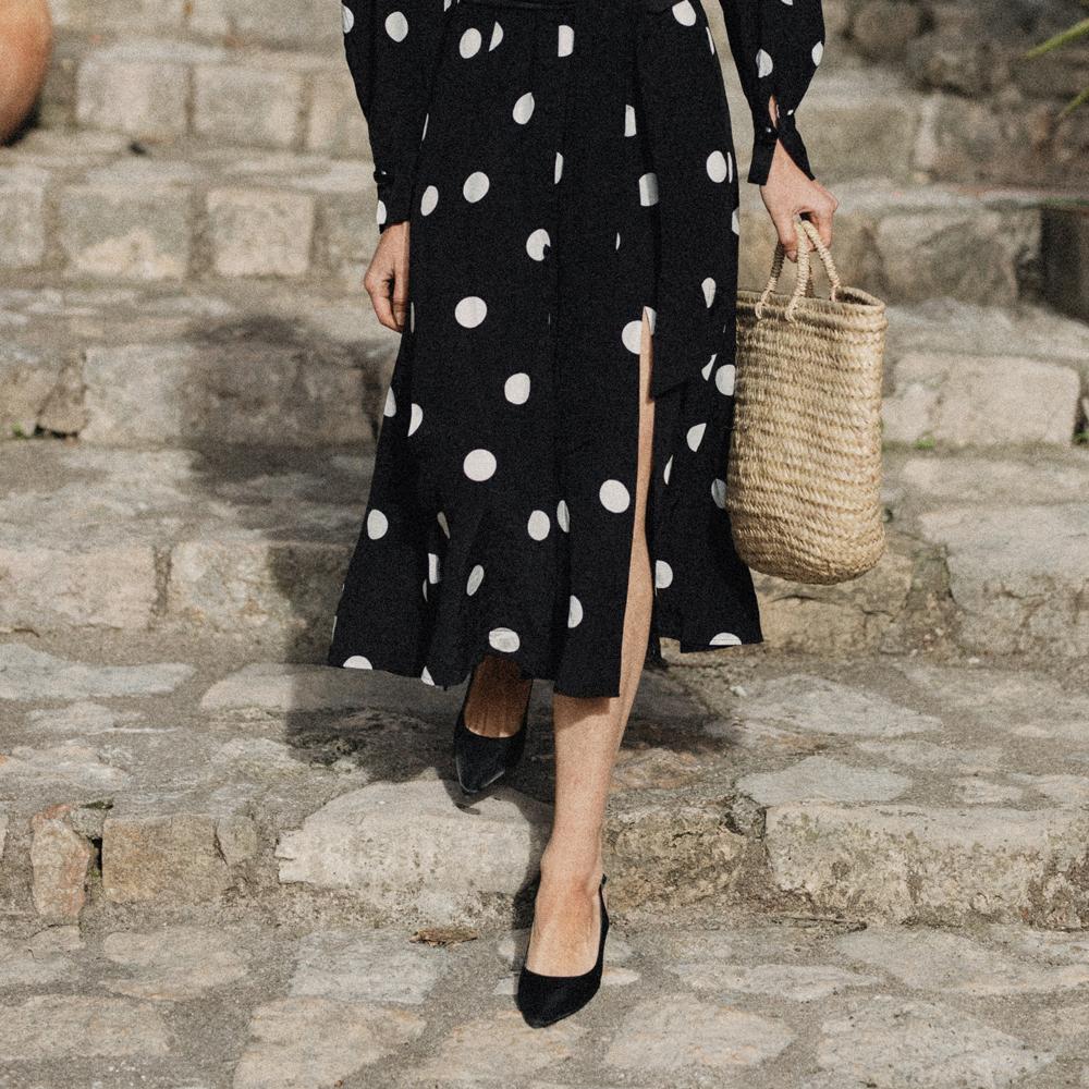 A polka dot dress and a basket bag