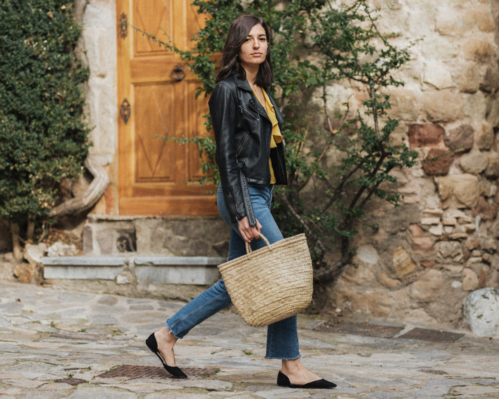 Yellow Wrap Top Vintage Biker Jacket Aria Di Bari French Street Style Fashion Blog And Other Stories Mango Zara Basket Bag Casual Fall Spring Outfit