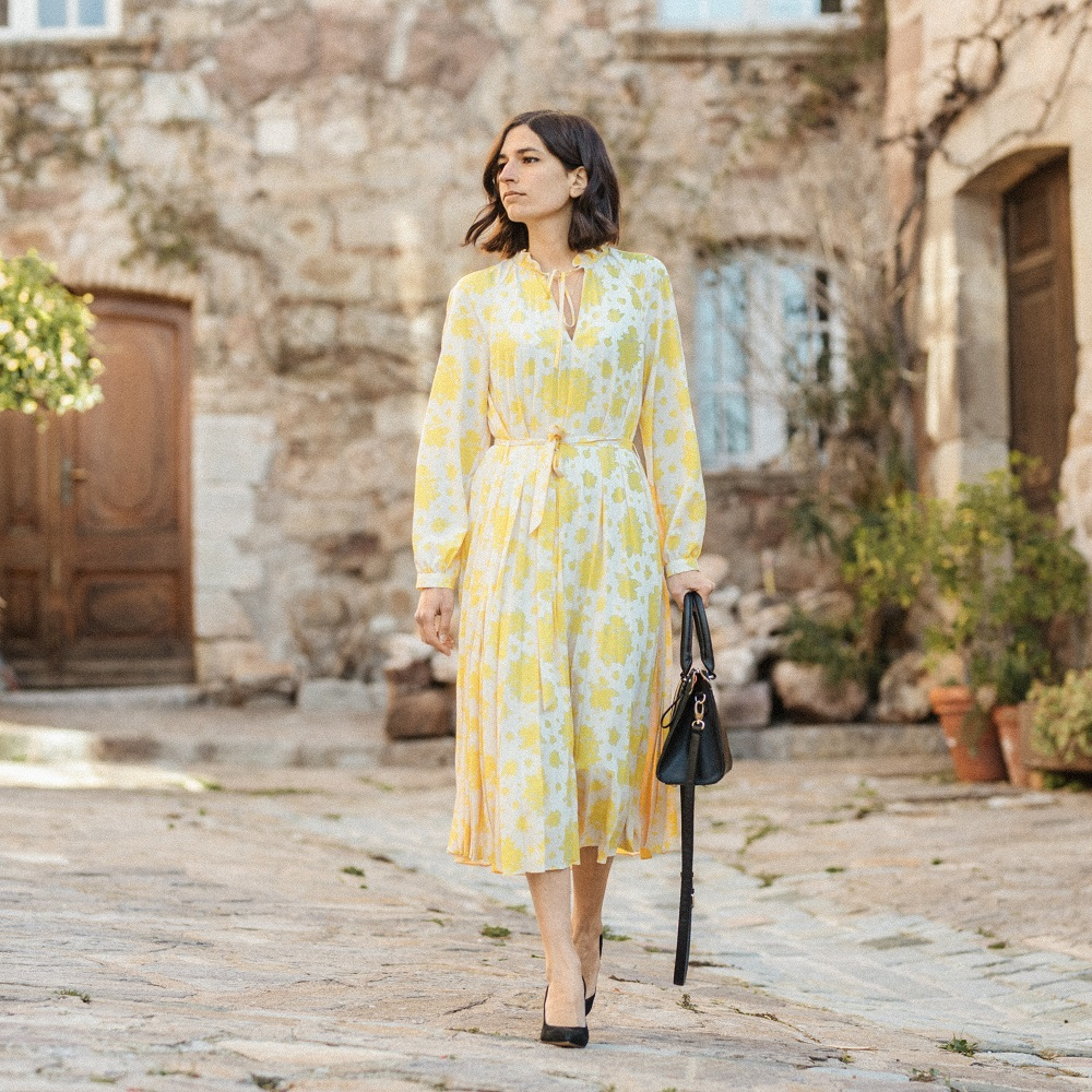 The perfect yellow floral dress for spring