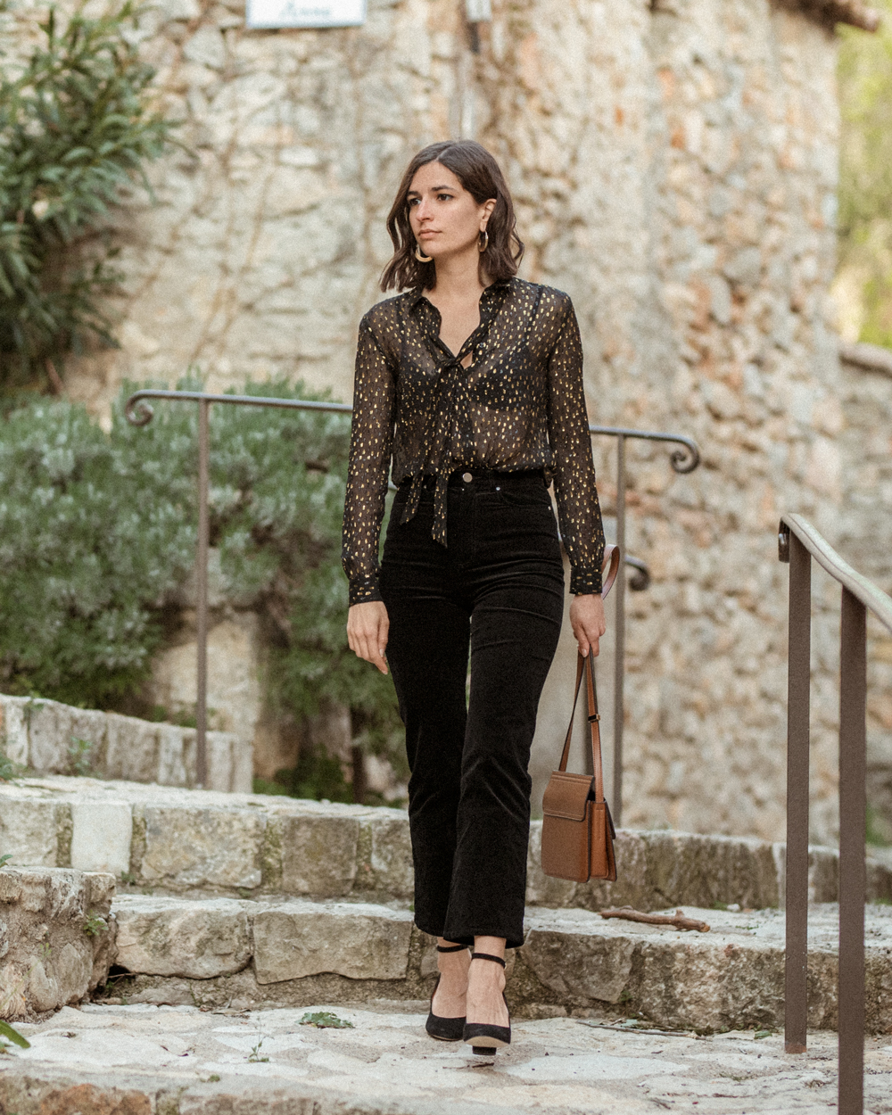 A Sezane shirt and a pair of velvet trousers
