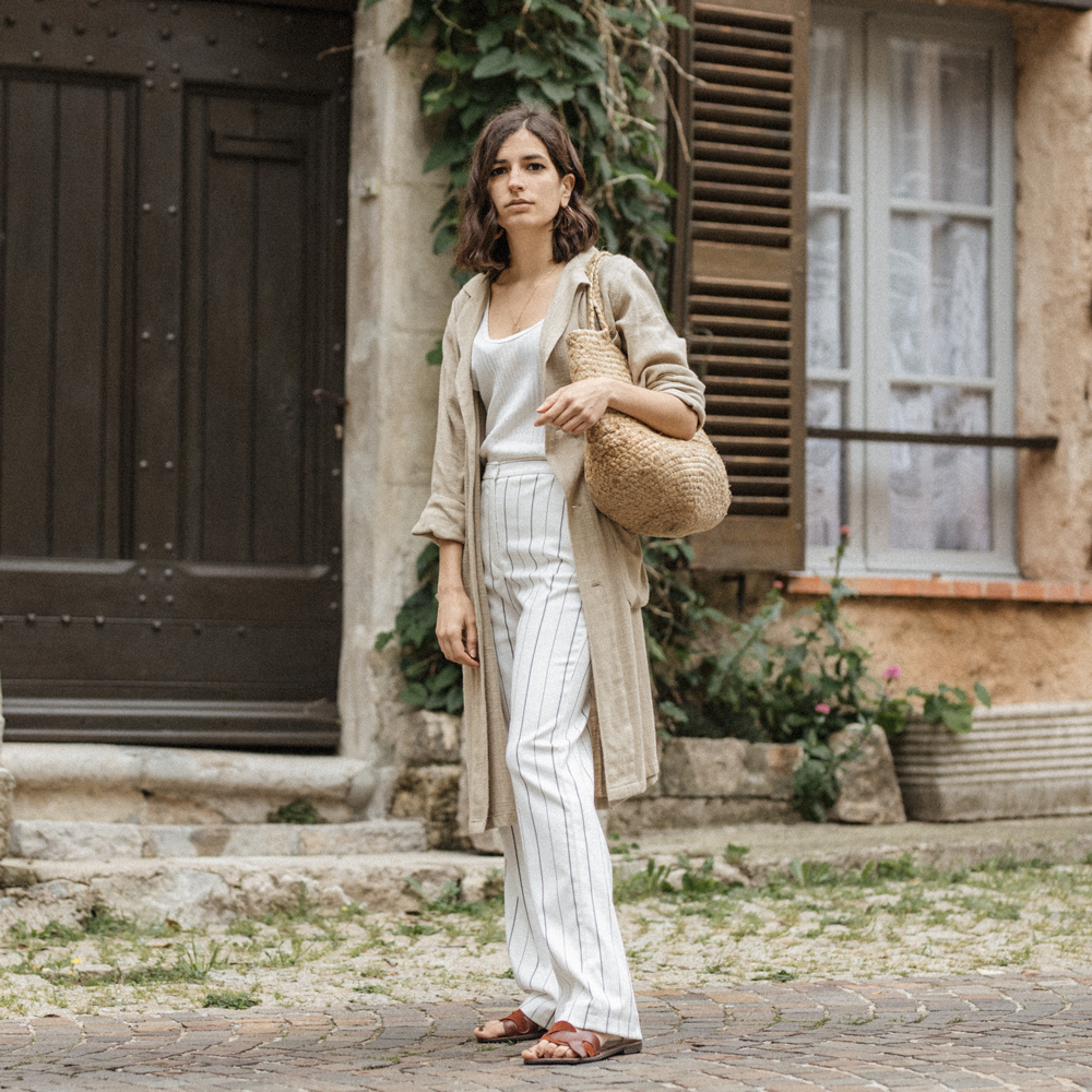 4f3b835b linen -trench-coat-spring-aria-di-bari-french-street-style-fashion-blogger-summer-outfit-mango-striped- trousers-zara-shoes-straw-bag-stella-forest-editorial- ...