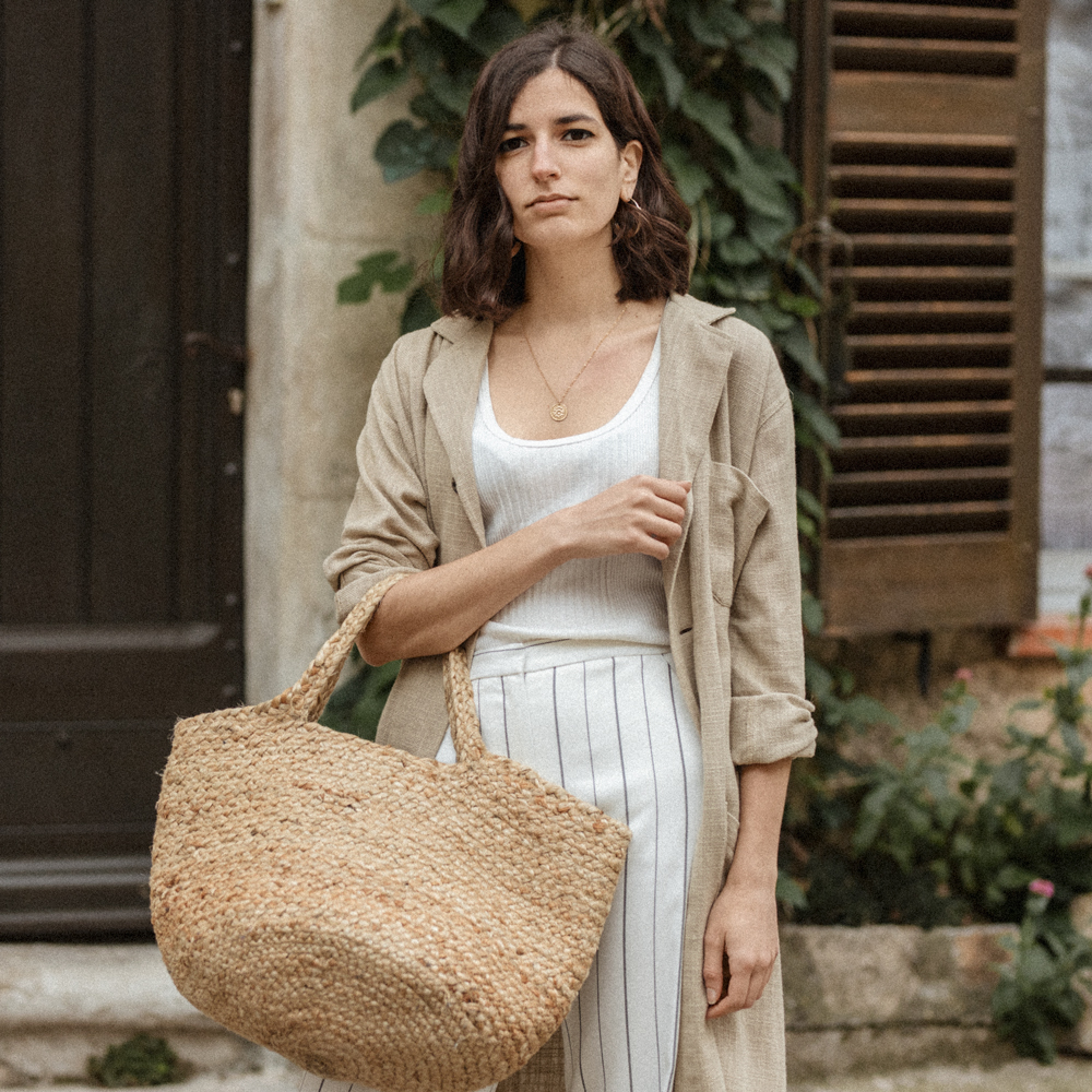A linen trench coat for spring