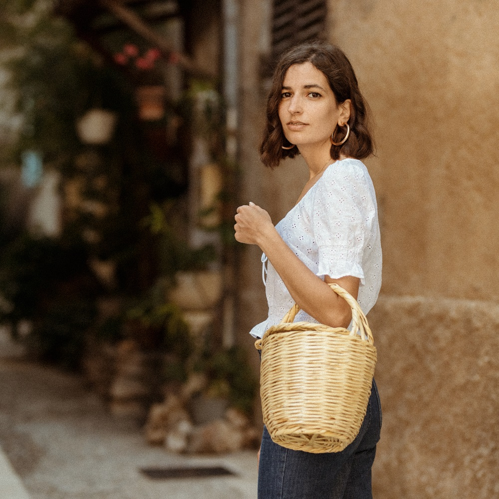 A vintage inspired top and a wicker basket