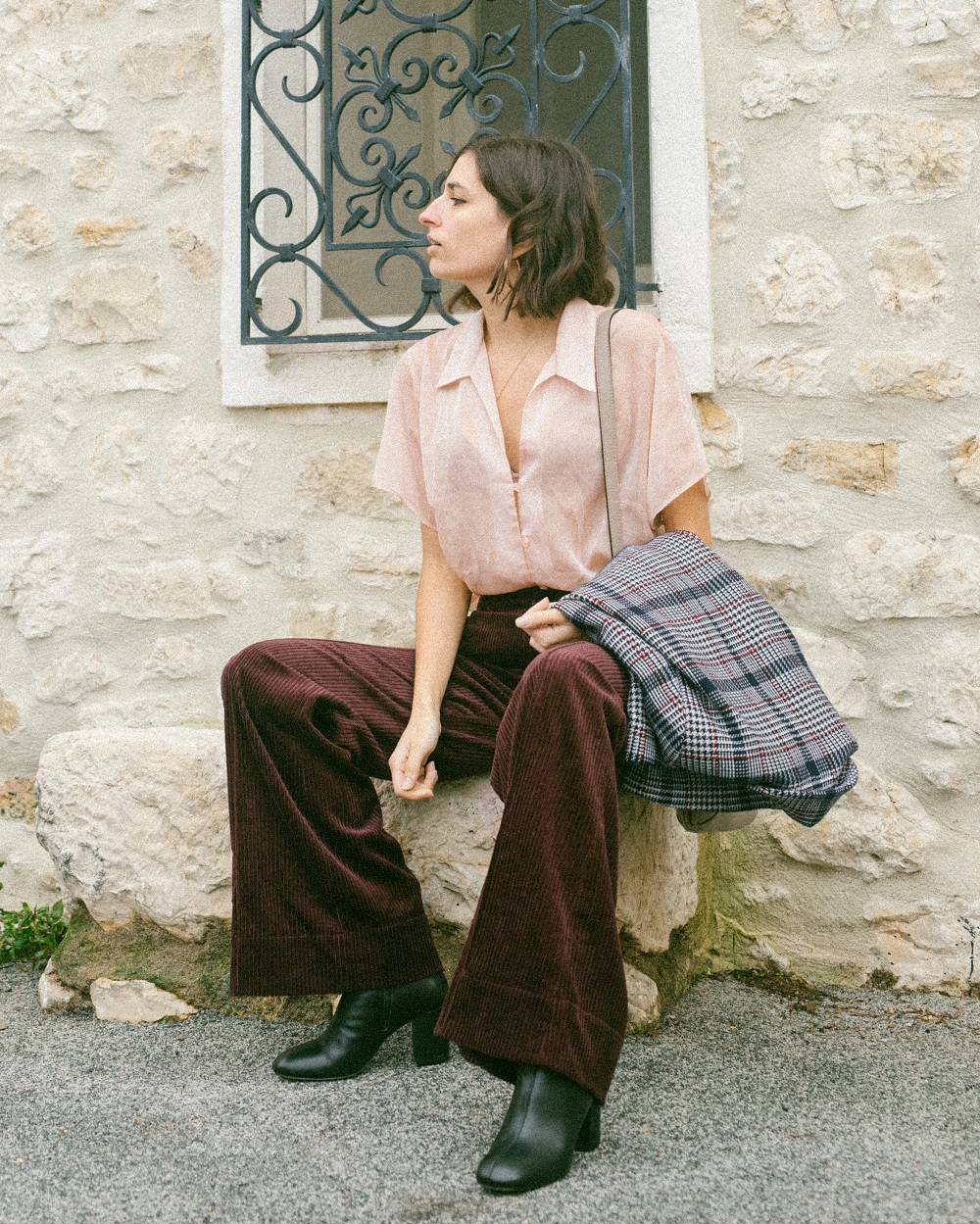 A vintage shirt and a pair of velvet trousers
