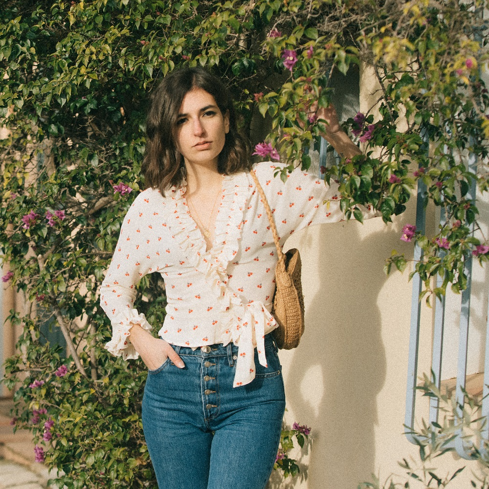 A cute cherry printed blouse to wear all spring long