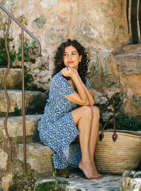 Robe Carmen | Fleurs bleues